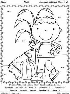 addition worksheets for grade 1 coloring 9387 autumn addition math printables color by the code puzzles for fall math school