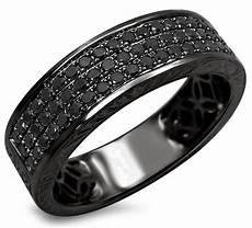 mens 55ct black diamond pave wedding band ring 14k