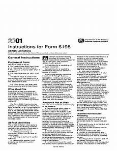 fillable online 2001 instructions for form 6198 at risk