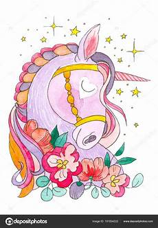 droom een eenhoorn de sterren en bloemen rond