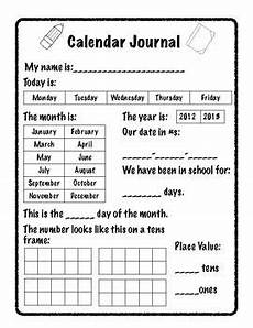 a calendar journal page for early kindergarten math kindergarten calendar math journals