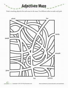 grammar maze worksheets 24882 adjectives maze worksheet education