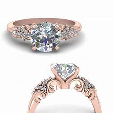 vintage filigree diamond wedding ring in 14k rose gold fascinating diamonds