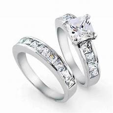 bling jewelry sterling silver 2ct cz princess cut engagement wedding ring set ebay