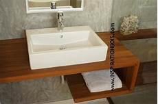 plan vasque bois salle de bain plan vasque en u suspendu en teck massif sdb en 2019