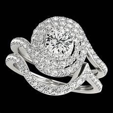 halo spiral diamond engagement ring