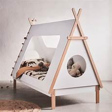 lit tipi enfant lit 1 place blanc en pin massif avec sommier 90x200 cm