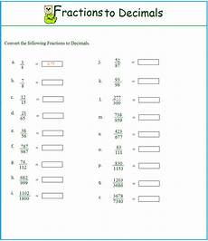 worksheet fraction to decimal