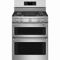cafe 30 in 7 0 cu ft smart double oven gas range with