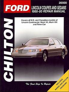 service repair manual free download 1988 lincoln continental mark vii engine control continental mark vii viii town car repair manual 1988 2000 chilton
