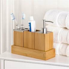 bamboo bathroom accessory set in tray soap dispenser cup toothbrush holder ebay
