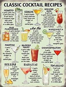 classic cocktail recipes fridge magnet og ebay