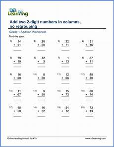 addition without regrouping grade 1 grade 1 addition worksheets adding two 2 digit numbers