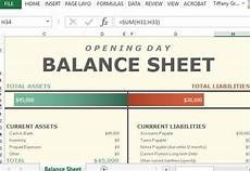 opening day balance sheet for excel