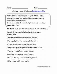 abstract nouns worksheet 1 ela literacy l 3 1c language worksheet education pinterest