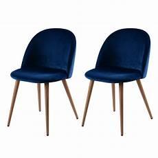 chaise cozy en velours bleu lot de 2 commandez les