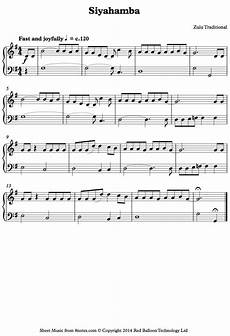 siyahamba sheet music siyahamba zulu traditional sheet music for piano 8notes com