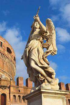 Statue Of An Of Castel Sant Angelo Rome Stock Photo