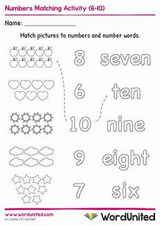 division worksheets eyfs 6166 numbers matching activity 6 10 in 2020 early years foundation stage free math printables