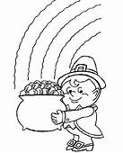 Pot Of Gold Rainbow Coloring Page & Book For