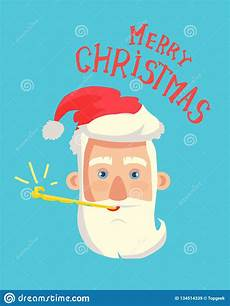 merry christmas greeting card santa claus head stock vector illustration of illustration