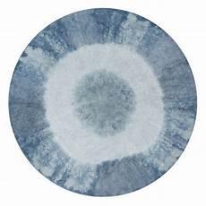 Tapis Rond Lavable Canals Tie Dye Vintage Bleu 160