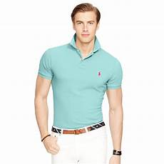 lyst polo ralph slim fit mesh polo shirt in blue