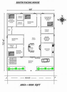 south face house plan per vastu 60 x72 6 quot 4bhk south facing house plan as per vastu shastra