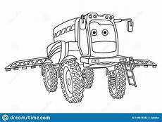 coloring page with agricultural sprayer tractor stock