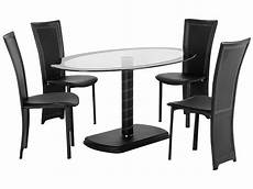 Black Clear Glass Oval Dining Table And Chair Set With 4