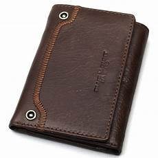 mens leather wallet trifold cedit card holder id photo