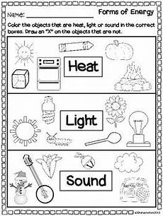 forms of energy heat light sound 1st grade science second grade science kinder science