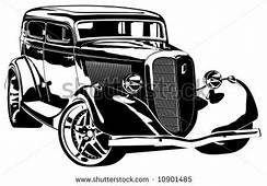 Hot Rod Muscle Car Art  Vector Hi Detailed Silhouette