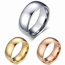 tungsten carbide 18k gold dome wedding band comfort fit mens womens promise ring ebay