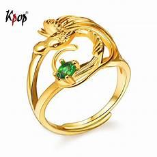 kpop phoenix bird adjustable ring gold color green cubic