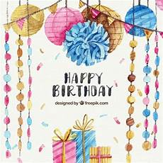 Aquarell Malvorlagen Happy Birthday Aquarell Geburtstag Hintergrund Mit Dekoration Und