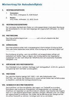 Kündigung Mietvertrag Vorlage Garage by Mietvertrag Garage Vorlage Nach Schweizer Recht Zum