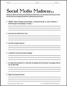punctuation practice worksheets for high school 20794 social media madness grammar worksheet 1 free worksheet for high school students pdf file