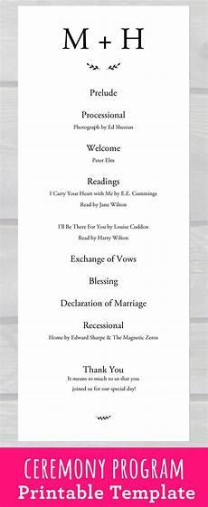 wedding program template pdf wedding ceremony program template pdf printable for your rustic or class wedding ceremony