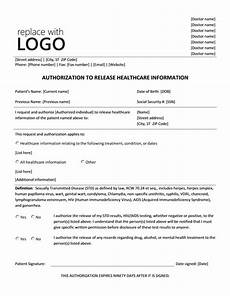 authorization to release healthcare information form printable medical forms letters sheets