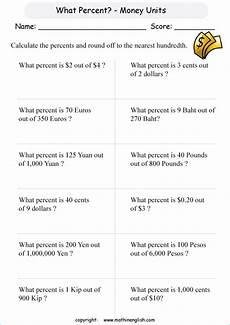 money units percentage printable grade 6 math worksheet