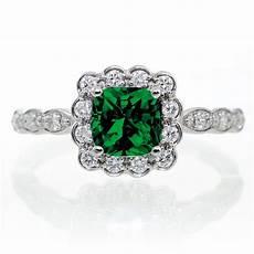 2 carat princess cut emerald and diamond wedding ring