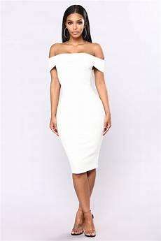 chantal shoulder dress white