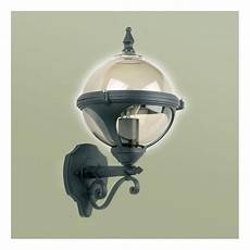 endon lighting single light outdoor globe wall fitting in black finish with smoked glass shade