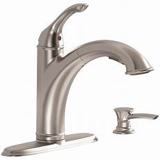pull out kitchen faucet american standard 9174101 075 single handle pullout kitchen faucet with soap dispenser