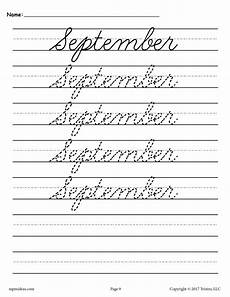 handwriting worksheets months of the year 21479 12 free cursive handwriting worksheets months of the year supplyme