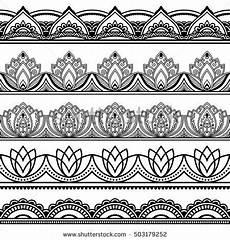 Indianische Muster Malvorlagen C Vector Henna Seamless Borders Set Mehndi Style Set Of