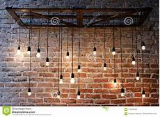 old brick wall with bulb lights l image of clean board 119783422