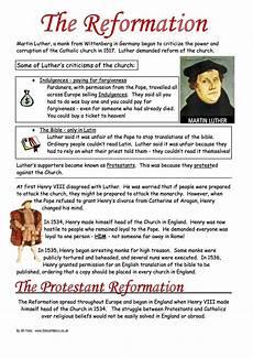 english reformation worksheets ks3 ks4 lesson