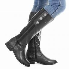 weite schuhe damen womens black leather style wide calf fit button